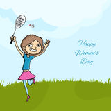 International Womens Day celebration with young girl. Royalty Free Stock Images