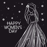 International Women's Day celebration with young girl sketch. Royalty Free Stock Images