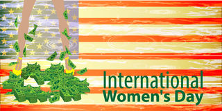 International Women`s Day. feminism. Feet. In heels with dollars-financial independence. Flag united states. Illustration for your design Stock Images
