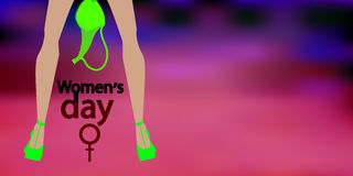 International Women`s Day. feminism. Financial. Independence. Feet in heels with a bra. Red background. Illustration for your design Royalty Free Stock Photography