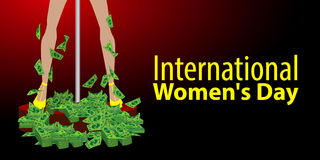 International Women`s Day. feminism. Financial. Independence. Feet in heels with paper dollars. Dance on the pole. Red background. Illustration for your design Stock Photography