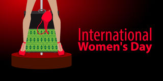 International Women`s Day. feminism. Financial. Independence. Feet in heels with paper dollars in a suitcase with a bra. A dance on the pole. Red background Royalty Free Stock Photos