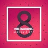 International women`s day poster. International women`s day flyer. Chocolate 8 number  paper cut vector illustration with confetti. Trendy Design Template Stock Photography