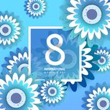International women`s day poster. International women`s day flyer. 8 number with blue paper cut flowers vector illustration. Trendy Design Template Stock Photography