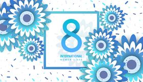 International women`s day poster. International women`s day flyer. 8 number with blue paper cut flowers vector illustration. Trendy Design Template Royalty Free Stock Image