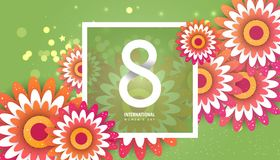 International women`s day poster. International women`s day flyer. 8 number with cut flowers vector illustration. Trendy Design Template Stock Photos