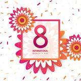 International women`s day poster. International women`s day flyer. 8 number with orange paper cut flowers vector illustration. Trendy Design Template stock illustration
