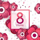 International women`s day poster. International women`s day flyer. 8 number with red paper cut flowers vector illustration. Trendy Design Template Royalty Free Stock Image