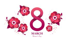 International women`s day poster. International women`s day flyer. 8 number with red paper cut flowers  vector illustration. Trendy Design Template Stock Image