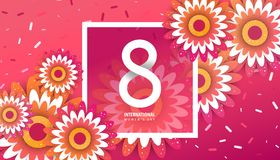 International women`s day poster. International women`s day flyer. 8 number with red paper cut flowers vector illustration. Trendy Design Template Royalty Free Stock Photo
