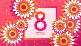 International women`s day poster. International women`s day flyer. 8 number with red paper cut flowers vector illustration. Trendy Design Template Royalty Free Stock Images
