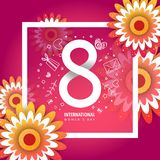International women`s day poster. International women`s day flyer. 8 number with rose paper cut flowers vector illustration. Trendy Design Template Royalty Free Stock Images