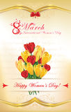 International Women's Day greeting card. 8 March - International Women's Day greeting card with flowers: crocus flowers and tulips.  Custom size of a postcard Vector Illustration