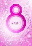 International women`s day greeting card. Vector illustration with a big eight digit on a pink background with lots of small particles and curves. March 8 Stock Photography