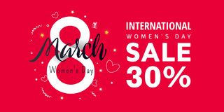International women`s day greeting card. International women`s day greeting  poster.3d illustration with stars and text on a red background Royalty Free Stock Photos