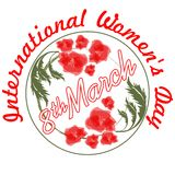 International Women's Day in grunge design with and red flowers. 8th March inscription Stock Photos