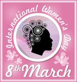 International Women's Day in grunge design with spring wreath and red flowers. 8th March greeting billboard or placard Stock Image