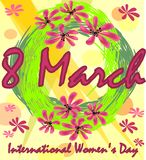 International Women's Day in grunge design with spring wreath and red flowers. 8th March greeting billboard or placard vector illustration