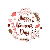 International Women`s Day. Hand drawn lettering. With doodle flowers decoration on white background vector illustration