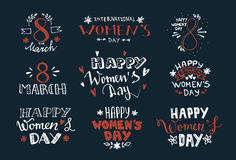 International Women`s Day hand drawn lettering labels design Stock Photo