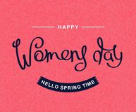 International Women`s Day. Handwritten lettering composition. Happy Women`s Day. Hello spring time. 8 th March. Season holiday template. Handwritten lettering stock illustration