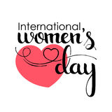 International Women`s Day handwritten lettering. March 8. Modern vector hand drawn calligraphy with heart over white background for your poster, banner stock illustration