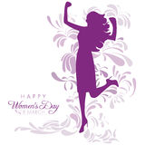 International Women's Day. Happy Womens Day greeting card or poster design with purple silhouette of an empowered girl on a white background with abstract floral Stock Photos