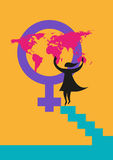 International Women's Day image or rights about women concept. Editable Clip Art. A silhouette of a woman putting a map on the Venus gender symbol Stock Illustration