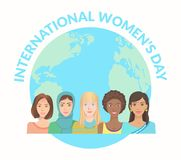 International Women s Day. International Women Day. Young women of various nationalities on globe background. Vector illustration EPS-8 Royalty Free Stock Image