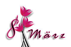 International Women's Day on March 8th. Date with letters with pink flowers. International Women's Day on March 8th with pink flowers isolated on a white Vector Illustration