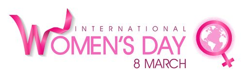 International women`s day. On March 8 Background, women`s sign on world logo Stock Photo