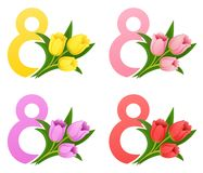 International Women`s Day 8 march with a bouquet of tulips vector illustration. Congratulation Stock Photography