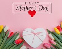 International Women`s Day on 8 March design. Tulips Flowers on background. royalty free stock photos