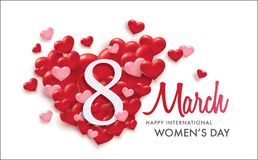 International Women`s Day. March 8, Happy Women`s Day poster design with 3D hearts Stock Image