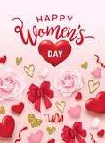 International Women`s Day. March 8, Happy Women`s Day design with typography, 3D hearts, roses and ribbons Royalty Free Stock Photography