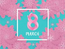 International Women`s Day  8 March. International Women`s Day  8 March Flower abstract design background. Vector illustration Royalty Free Stock Images