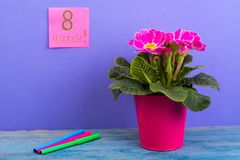International Women`s Day March 8. Reminder, sheets on bright background. Bouquet of flowers on wooden table. Studio Photo Royalty Free Stock Photography