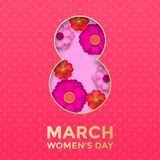 International Women`s Day paper cut illustration with gold frame number eight for 8 March card. Happy Womens Day  3D paper cut out design with flowers on pink Royalty Free Stock Images