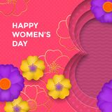 International Women`s Day paper cut illustration with gold frame number eight for 8 March card. Happy Womens Day. 3D paper cut out design with flowers on pink Stock Illustration