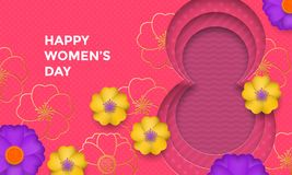 International Women`s Day paper cut illustration with gold frame number eight for 8 March card. Happy Womens Day. 3D paper cut out design with flowers on pink Royalty Free Stock Photography