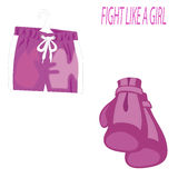 International Women s Day. Pink boxing gloves and sports shorts  on white background. 8 March. International Women`s Day. Pink boxing gloves and sports shorts Stock Images