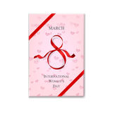 International Women`s Day pink gift box with red ribbon. Vector illustration. 8 march background. International Women`s Day pink gift box with red ribbon royalty free illustration