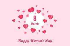 International Women`s Day poster, background and wallpaper. Lettering Happy Women`s day with red heart, love paper cut stock illustration