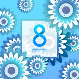 International women`s day poster. International women`s day flyer. 8 number with blue paper cut flowers vector illustration. Trendy Design Template Royalty Free Stock Photos