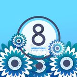 International women`s day poster. International women`s day flyer. 8 number with blue paper cut flowers vector illustration. Trendy Design Template Stock Photo