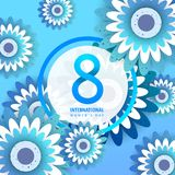International women`s day poster. International women`s day flyer. 8 number with blue paper cut flowers vector illustration. Trendy Design Template Royalty Free Stock Photography