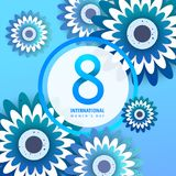 International women`s day poster. International women`s day flyer. 8 number with blue paper cut flowers vector illustration. Trendy Design Template Stock Image