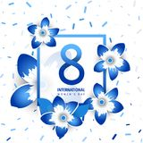 International women`s day poster. International women`s day flyer. 8 number with blue paper cut flowers vector illustration. Trendy Design Template Stock Images