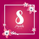 International women`s day poster. International women`s day flyer. 8 number with cut flowers vector illustration. Trendy Design Template Royalty Free Stock Image