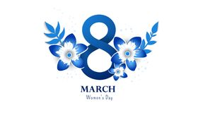 International women`s day poster. International women`s day flyer. 8 number with cut flowers vector illustration. Trendy Design Template Royalty Free Stock Images